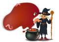 A witch holding a stick with a pot illustration of on white background Stock Image
