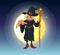 A witch holding a stick standing at the center of a full moon illustration Stock Image