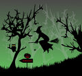 The witch in the horror night forest for halloween Royalty Free Stock Photo