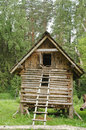 Witch house on chicken legs from folklore in forest Royalty Free Stock Photos