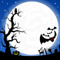 Witch house in a full moon night vector illustration of Stock Images