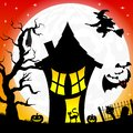 Witch house in a full moon night vector illustration of Royalty Free Stock Image