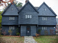 Witch house in salem massachusetts dark gray Royalty Free Stock Images
