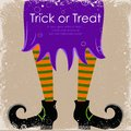 Witch leg easy to edit vector illustration of in halloween background Stock Photos