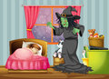 A witch looking at the girl sleeping inside the room illustration of Stock Photo