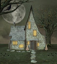Witch magic house with skulls and raven Stock Images