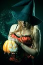 Witch with the magic lantern Royalty Free Stock Image