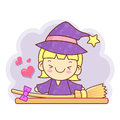 Witch mascot and broom work and job character design series Royalty Free Stock Images