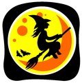 Witch and moon halloween flying on a black background Royalty Free Stock Photos