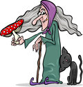 Witch with mushroom cartoon illustration of funny fantasy or halloween black cat and poisonous toadstool Stock Photo