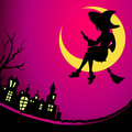 Witch night fancy sitting on the moon at halloween Royalty Free Stock Photography