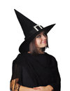 Witch portrait of a teenager girl with a hat Stock Images