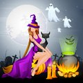 Witch preparing poison in cauldron illustration of halloween Royalty Free Stock Photo
