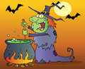 Witch preparing a potion in halloween night Stock Images