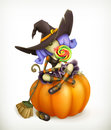 Witch on pumpkin illustration