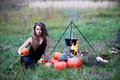 Witch with pumpkins Royalty Free Stock Photo