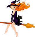 Witch riding a broom Royalty Free Stock Photos