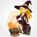 Witch sit on grave with the boiler of potion Royalty Free Stock Image