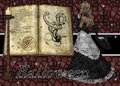 Witch and Spell Book Halloween Background Royalty Free Stock Photography