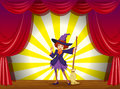 A witch at the stage with a red curtain illustration of Royalty Free Stock Images