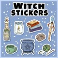 Witch stickers set. Collection of witchcraft labels. Wiccan symbols: cauldron, wand, candle, books