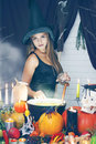Witch throwing secret ingredient, tinted Royalty Free Stock Photo