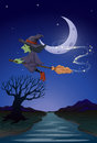 A witch travelling with her broomstick in the middle of the nigh illustration night Royalty Free Stock Photo