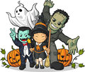 Witch, Vampire, Frankenstein, Ghost & Pumpkin Royalty Free Stock Image