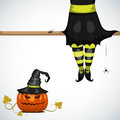 Witch vector halloween card with Stock Photography