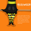 Witch vector halloween card with Royalty Free Stock Photography