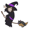 Witch vector hand drawn image of a with a cat on er broom Stock Photography