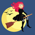 Witch vector illustration of halloween flying on broom Royalty Free Stock Images