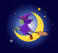 A witch with a violet hat riding on a broom illustration of Stock Photo