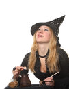 A witch young woman in costume Royalty Free Stock Photography