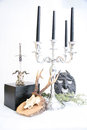 Witchcraft items for books pentacle and candles skull sword Stock Photos
