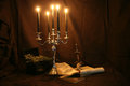 Witchcraft items for books pentacle and candles skull sword Royalty Free Stock Photography