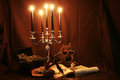 Witchcraft items for books pentacle and candles skull sword Royalty Free Stock Images