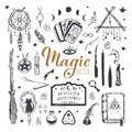 Witchcraft, magic background for witches and wizards. Wicca and pagan tradition. Vector vintage collection. Hand drawn Royalty Free Stock Photo