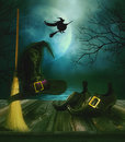 Witches broom hat and shoes with sppody background