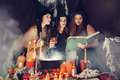 Witches look into the book tinted of magical recipes Stock Image