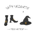Witches shoes and hat with spiders for Halloween