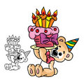 With do urso um bolo do birthday Fotografia de Stock Royalty Free