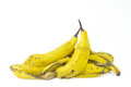 Withered banana peels are on white background Royalty Free Stock Photos