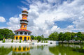 Withun thasasa tower ho ayuthaya thailand the observatory located in bang pa in palace Royalty Free Stock Photo