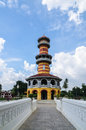 Withun thasasa tower ho ayuthaya thailand the observatory located in bang pa in palace Royalty Free Stock Photos