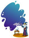 A wizard with a book in front of a crystal ball illustration on white background Royalty Free Stock Images