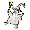Wizard casting spell cartoon Royalty Free Stock Photo