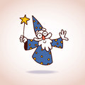 Wizard character cute with magic wand Royalty Free Stock Photos