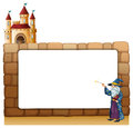A wizard in front of an empty white signage with a castle illustration on background Royalty Free Stock Images