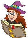Wizard girl reading magic book Royalty Free Stock Photo